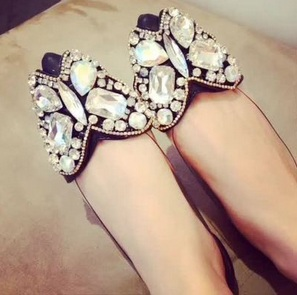 butterfly diamond flatshoes